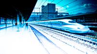 High-speed train on railroad station, Shinkansen, Japan