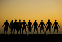 Group of people sticking together