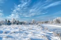 Winter landscape with snowy road, Estonia