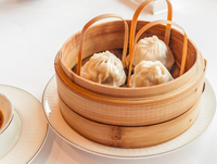 Chinese steamed dumplings Xiaolongbao in bamboo basket, Hong Kong