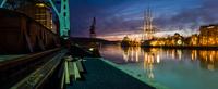 Turku shipyard at dusk, Turku, Southwest Finland, Finland