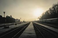 Empty railway platform, Jibou, Romania