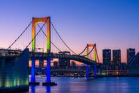 Rainbow Bridge at sunset, Minato, Tokyo, Japan
