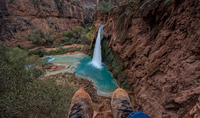 Man watching waterfall from top, Arizona, USA