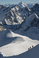 Group of people climbing in Mount Blanc masiff, France