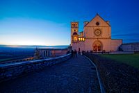 Basilica of Saint Francis of Assisi at night, Umbria, Perugia, Italy