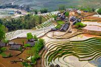 Village among rice fields on hills, Sapa, Vietnam
