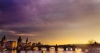 Sunset over Charles Bridge, Prague, Czech Republic