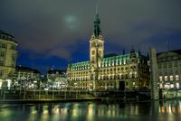 Townhall at night, Hamburg, Germany