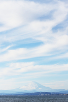 Snowcapped mountain in distance, Fuji, Japan