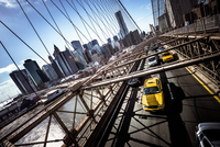 Traffic on Brooklyn Bridge, New York City, New York, USA