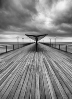 Boscombe Pier on cloudy day, Boscombe, Dorset, England, UK