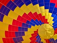 Colorful hot air balloon envelope