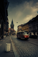 Tram on old town street, Prague, Czech Republic