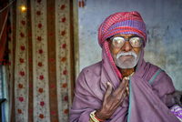 Portrait of old man wearing traditional Indian clothing, India