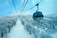 Overhead cable car in winter, Akita, Tohoku, Japan