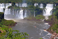Aerial view of boat approaching waterfall, Parana, Brazil