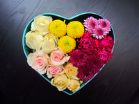 Flowers in heart shape box