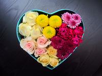 Flowers in heart shape box