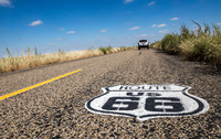 Route 66 marker and car on road, Route 66, Texas, USA