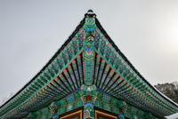 Colorful roof of buddhist temple, Jinbu, Korea