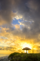Distant beach umbrella against sunrise, Cuba