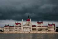 Moody sky over parliament building, Budapest, Hungary