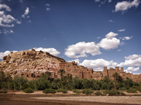 Fortified city of Ait Benhaddou in Atlas Mountains, Casbah, Ait Benhaddou, Morocco