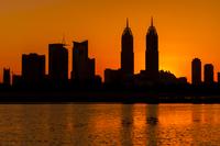 Dubai skyline silhouette at sunset, Dubai, United Arab Emirates