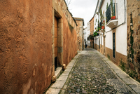 Cobblestone street in Old Town of Caceres, Extremadura, Spain