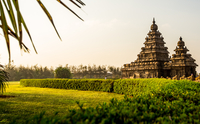 Shore Temple Garden landscape, Chennai, Tamilnadu, India