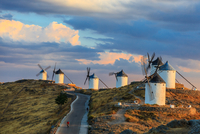 Windmills on hill in Consuegra, Consuegra, Mancha, Spain
