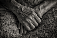 Clasped hands of elderly woman, Belgrade, Serbia