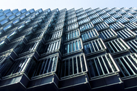 Low angle view of modern building, London, England, UK