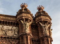 Sculptures of angels on Arc de Triomf, Barcelona, Catalonia, Spain