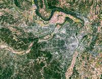 Satellite view of St Louis, Missouri, USA 11098042144  写真素材・ストックフォト・画像・イラスト素材 アマナイメージズ