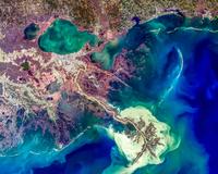 Satellite view of Mississippi Delta, Louisiana, USA 11098042153  写真素材・ストックフォト・画像・イラスト素材 アマナイメージズ