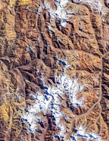 Satellite view of mountains, Rio Olivares Park, Santiago Metropolitan Region, Chili