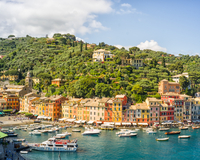 Village on coastline, Portofino, Italy