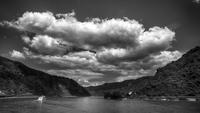 Cloudy sky over Rhein river, Rhine Valley, Mittelrhein, Germany