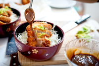 Tonkatsu with noodles and sauce in bowl, Japan