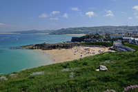 Beach with townscape in background, Porthgwidden, St Ives, Cornwall, England, UK