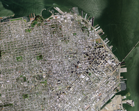 Satellite image of Downtown district, San Francisco, California, USA