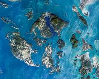 Satellite image of San Juan Islands, Washington State, USA
