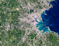 Satellite image of Boston, Massachusetts, USA