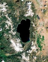 Satellite image of Lake Tahoe, Sierra Nevada, USA