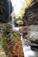 Bridge and waterfall in Watkins Glen State Park, New York, USA