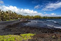 Coastline of Punaluu Black Sand Beach, Hawaii, USA