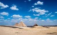 Pyramids of Giza on sunny day, Cairo, Egypt