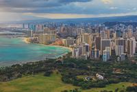 Cloudy sky over city, Honolulu, Hawaii, USA